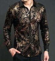 Vogue Mens Print Satin Casual Dress  Business Shirt Silk Pleuche Gold Shirts Top