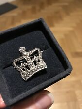 vintage marcasite sterling silver crown brooch