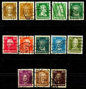 Germany 1926 Famous People Issues Complete Set of 13 Scott's 351 to 362 & 353b