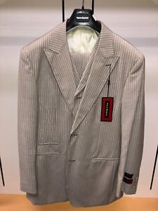 NWT Steve HARVEY 42R Tan White Fashion Exotic Adams Suit 3PC Pinstripe