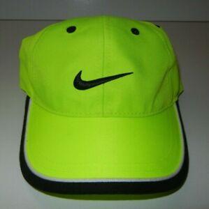 NIKE Neon Yellow/Black Swoosh GOLF HAT Running Tennis Gym TODDLER SIZE Kids 4/7