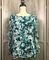 Women's Charter Club NWT Pretty Floral Top Lined Sheer Sleeves Size Small