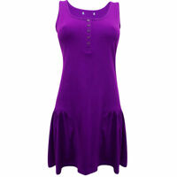 Sebix Purple Sleeveless Cotton Tunic Summer Holiday Vest Top Size 8 10 12 18 UK