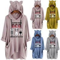 Women Casual Print Three Cats Hooded Ear Long Sleeves Pocket Top Blouse Shirt