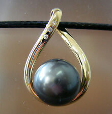 13.3mm TAHITI BLACK PEARL 100% UNTREATED+DIAMONDS+18ct YG PENDANT+CERT AVAILABLE