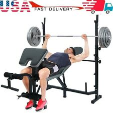 Weight Bench Barbell Lifting Press Gym Equipment Exercise Adjustable Incline Set