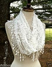 "Scarf Infinity white lace 3"" crochet fringe super soft double wrap 72 x 15 NWT"