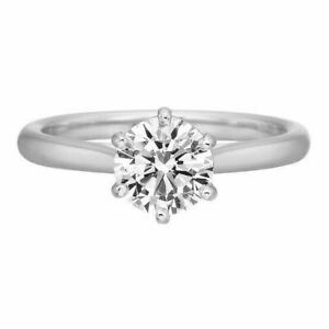 2 Ct Round Cut Diamond Solitaire Engagement Promise Ring Solid 18K White Gold