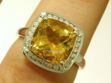 R211- SUPERB 9ct White Gold NATURAL Citrine & Diamond Ring Cocktail size M