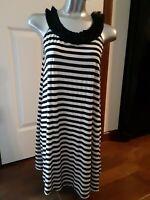 MAX STUDIO Womens Tank Dress Sleeveless Size XS Stretch Black White Stripe
