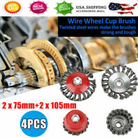 4 Pcs Rotary Twist Knot Flat Cup Steel Wire Wheel Brush Set for Angle Rust Paint