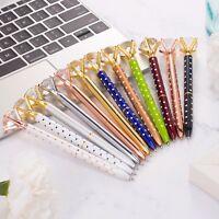12 Pieces Big Diamond Pen Rhinestones Crystal Metal Ballpoint Pens Black