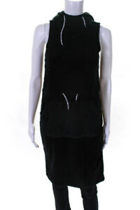 Opening Ceremony Womens Velour Sleeveless Hoodie Sweater Dress Black Size XS