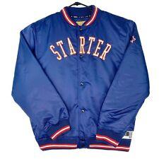 NEW Starter Men's Bomber Offense Satin Jacket Logo Snap Button RRP $199.99