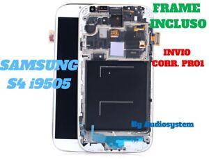 DISPLAY LCD+TOUCH SCREEN FRAME SAMSUNG GALAXY S4 GT i9505 VETRO TELAIO SCHERMO