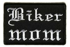 "(H30) BIKER MOM Old English 3"" x 2"" iron on patch (5221) Biker"
