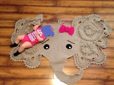 Baby Kids Room Crochet Large Elephant Rug Blanket Girl Bow Boy Shower Gift