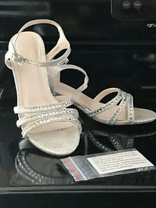 """David's Bridal Silver Rhinestone Strap Shoes Size 7.   2.5"""" Heel. Pre Owned"""