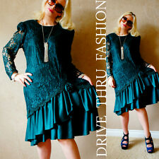 Vtg 80s FLAPPER Sheer Scallop LACE Draped ASYMMETRIC Tiered Pin up SWING Dress