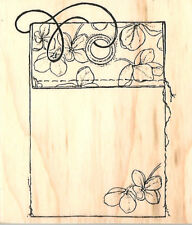 Fabric Flower TAG Wood Mounted Rubber Stamp Impression Obsession D6997 NEW