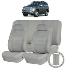 PU LEATHER SOLID GRAY SEAT COVERS 11PC SET for GMC ACADIA ENVOY