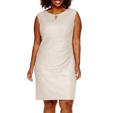 Scarlett- Sleeveless Side-Ruched Metallic Dress,  Plus-Size : 14W, color:  Taupe