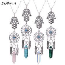 Women Stone Necklace Dream catcher Boho Silver Color Hamsa Hand Ethnic Pendant
