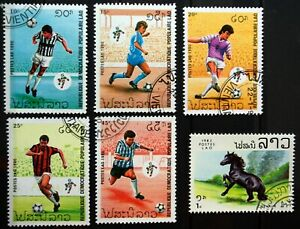 Laos. x6 stamps. Football, Horse