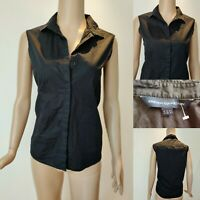 Women's FRENCH CONNECTION Top Blouse Sleeveless Shirt Size 10 Black Cotton FCUK