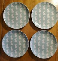 "NEW Set of 4 Crate & Barrel Easter Bunny 8"" Salad / Dessert Plates"