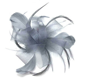 Silver Comb Fascinator Ladies Day Wedding Races Royal Ascot Hair Piece 2