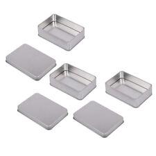 3pc Small Rectangle Metal Tin Silver Storage Box Case Home Organizer Jewelry