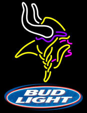 "New Bud Minnesota Vikings Neon Light Sign 24""x20"" Beer Bar Artwork Real Glass"