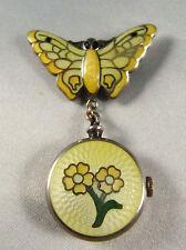 Art Deco Vintage Sterling Silver Enamel Butterfly drop watch