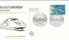 Enveloppe 1er Jour TRAIN PARIS 09/06/2007 TGV est européen éd courbevoie timbrée