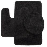 3PC #6 BLACK COLORS BANDED BATHROOM SET BATH MAT COUNTOUR LID COVER