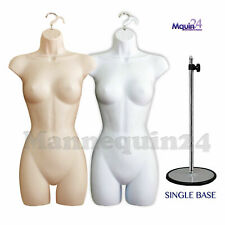 2 Female Mannequins Torso Set Flesh & White + 2 Hangers +1 Stand - 2 Women Forms