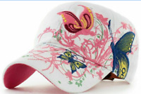Fashion Adjustable Baseball Cap For Women Butterflies And Flowers Embroidery Hat
