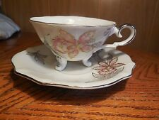 Vintage 3-footed Cup & Saucer Set- Floral Pink with Gold/ Silver Colored Trim