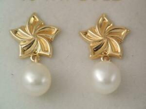 GORGEOUS NEW IN BOX SOLID 10K GOLD FLOWER 8 MM PEARL DROP EARRINGS