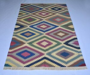 Handmade Vintage Colorful Kilim Living Room & Gust Room 4X6 Feet Cotton DN-1437