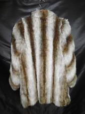Vintage Jordache S 8 Brown Gray Faux Fur Coat Plush Fleece 80s Hook Front Retro