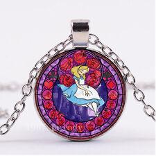 NEW Cabochon Glass necklace Silver/Bronze/Black pendant(Alice princess)