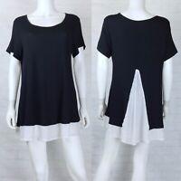 Bobeau Sam Large Blouse Top Short Sleeve Black White A Line Knit Tunic with Trim