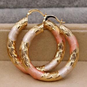 Fashion 18K Gold Ear Stud Hoop Dangle Earrings Women Bridal Wedding Jewelry Gift
