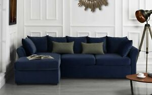 Velvet Sectional Sofa w/ Removable Back Pillows, Left Facing Chaise, Navy