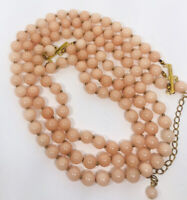Triple Strand Pink Glass Beaded Bib Necklace Faux Coral Glass Vintage Jewelry