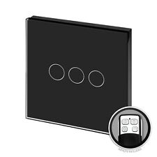 RetroTouch Touch & Remote Light Switch 3 Gang 2 Way Black Glass PG 00375