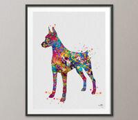 Doberman Pinscher Watercolor Print Doberman Art Print Poster Gift Pet Dog Love