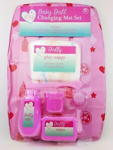Baby Doll Changing Mat Set Brush Reusable Nappy Fillable Play Containers